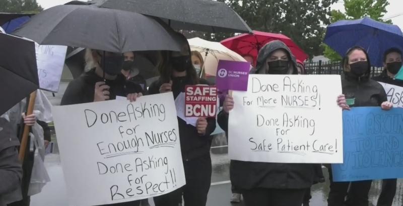 Nurses hold rally outside Horgan's Langford office