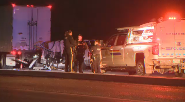A crash closed part of the South Perimeter Highway Friday night.