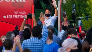 Liberal Leader Justin Trudeau leaves a tailgate party campaign stop in Hamilton, Ont., on Friday, Sept. 17, 2021. THE CANADIAN PRESS/Sean Kilpatrick
