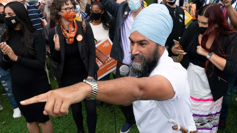 NDP leader Jagmeet Singh greets supporters during a campaign stop in Halifax, N.S., Friday, September 17, 2021. THE CANADIAN PRESS/Jonathan Hayward