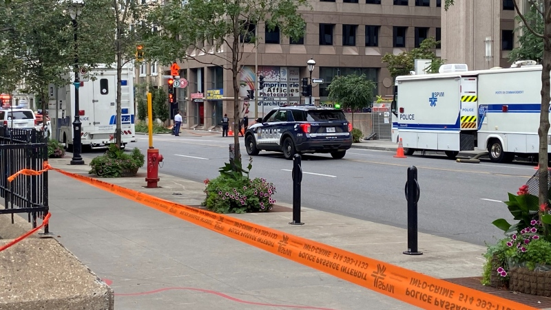 A young man was stabbed and killed in an altercation in downtown Montreal. It is the 21st homicide of the year in the city. (Christine Long/CTV News)