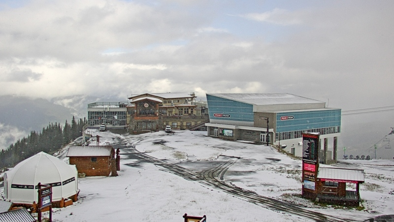 A Whistler Blackcomb webcam photo from Whistler Roundhouse, at an elevation of 1,850 metres above sea level, shows snow on the ground on Saturday, Sept. 18, 2021.