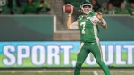 Saskatchewan Roughriders quarterback Cody Fajardo (7) throws the ball during the first half of CFL football action against the Toronto Argonauts in Regina on Friday, September 17, 2021. THE CANADIAN PRESS/Kayle Neis