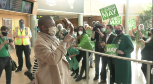 Federal Green Party Leader Annamie Paul landed at Victoria International Airport amidst cheers from dozens of supporters waving Elizabeth May signs. (CTV)