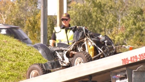Police investigate ATV crash in Wasaga Beach that sent a man to a Toronto hospital in serious condition on Saturday, September 18, 2021 (Steve Mansbridge/CTV News)