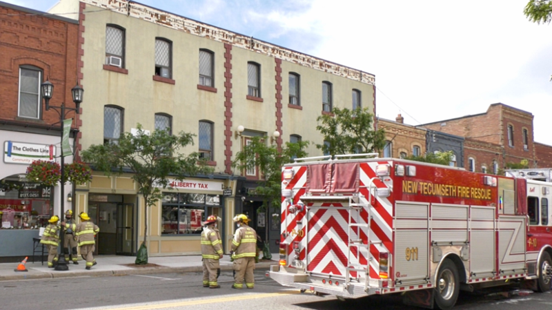 New Tecumseth Fire crews on scene where a fire broke out at in apartment on Victory Street W. in Alliston on Saturday, September 18, 2021 (Steve Mansbridge/CTV News)