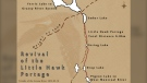 The 'Friends of the Grassy River' created this map of the 'Little Hawk Portage', about a seven kilometre trek, connecting the Arctic and Atlantic watersheds. (Submitted by Laurent Robichaud)