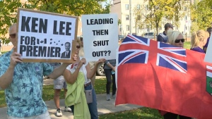 Protesters gather to criticize PC leadership race