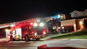 Emergency crews on scene of a fire at a home on Sun King Crescent in Barrie on Sat. Sept. 18, 2021 (David Sullivan/CTV News Barrie)