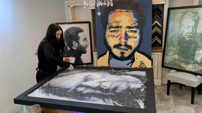 Artist donates broken glass art for good cause