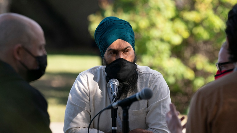 NDP Leader Jagmeet Singh meets with healthcare workers during a campaign stop in Edmonton, Saturday, September 18, 2021. THE CANADIAN PRESS/Jonathan Hayward