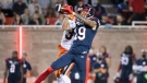 Montreal Alouettes wide receiver Dante Absher (19) goes up for a catch during first half CFL football action against the B.C. Lions in Montreal, Saturday, September 18, 2021. THE CANADIAN PRESS/Graham Hughes