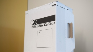 A sample ballot box is seen ahead of the 2019 federal election at Elections Canada's offices in Gatineau, Que., Friday, Sept. 20, 2019. THE CANADIAN PRESS/Justin Tang