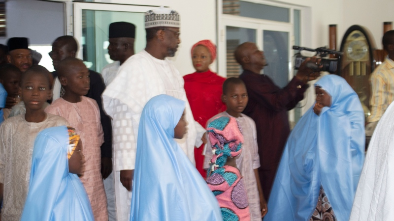 Some freed students of Salihu Tanko Islamic School, before a meeting with Niger state governor in Minna, Nigeria Friday, Aug 27, 2021.  (AP Photo)