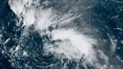 This satellite image shows Tropical Storm Peter over the Atlantic Ocean. (NOAA)