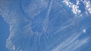 Satellite photo of Caldera de Taburiente and Cumbre Vieja, La Palma, Canary Islands. (Wikimedia Commons, courtesy of Analysis Laboratory, NASA Johnson Space Center)