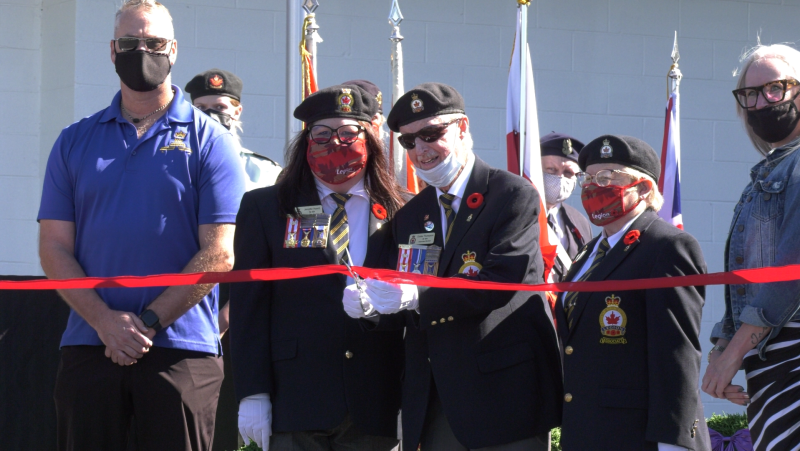 There was a firearm salute, bagpipes, and bugle as Sudbury's Lockerby Legion, Royal Canadian Legion Branch 564 unveiled the new cenotaph to the community. Sept.19/21 (Ian Campbell/CTV News Northern Ontario)