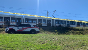 A LRT train stopped west of Tremblay Station after an LRT car derailed on Sunday. (Jackie Perez/CTV News Ottawa)