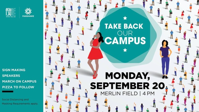 Take Back Our Campus event poster. (Source Fanshawe College/Facebook)