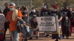 A large group gathered in Saskatoon for Megan's Walk raising awareness of missing 30-year-old Megan Gallagher. (Chad Leroux/CTV Saskatoon)