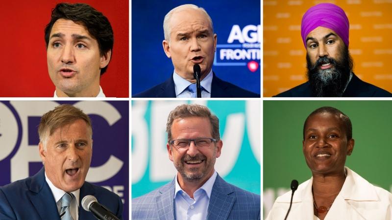 Justin Trudeau, Erin O'Toole, Jagmeet Singh, Maxime Bernier, Yves-François Blanchet, Annamie Paul vertical photos. Election 2021