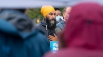 NDP leader Jagmeet Singh makes a morning announcement in Burnaby, B.C. Sunday, September 19, 2021. (THE CANADIAN PRESS / Jonathan Hayward)