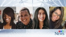 Composite image of young Canadians who will be sharing their opinions and commentary on CTV's Voters' Viewpoint panel. (Sarah Barzak, Chief Brent Bissaillion, Danièle-Jocelyne Otou, and Samanta Krishnapillai)