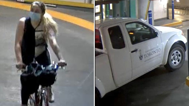 Police allege a woman stole a University of Toronto truck at an underground parking lot on Saturday, Sept. 18, 2021. (Toronto Police Service)