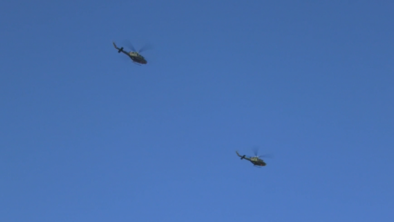 Griffon helicopter flyover