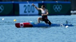 Katie Vincent of Canada competes in the women's canoe single 200m semifinal at the 2020 Summer Olympics, Thursday, Aug. 5, 2021, in Tokyo, Japan. (AP Photo/Lee Jin-man)