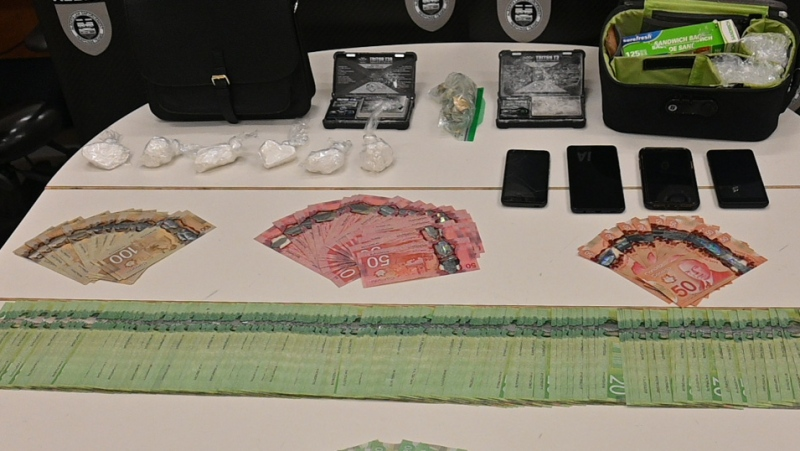 Photo showing some of the items ALERT says it seized during a search of a Lloydminster home (ALERT).