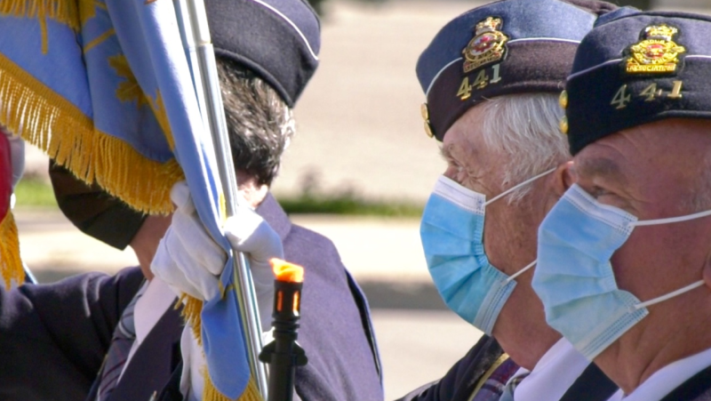 Veterans and military members commemorated lives lost during Battle of Britain during a ceremony at the Barrie Legion on Sunday, September 19 (Steve Mansbridge/CTV News)