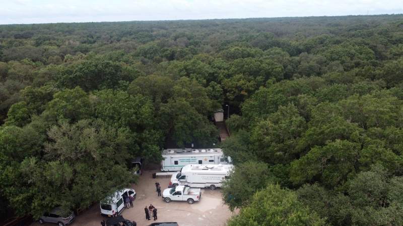 In this photo provided by the North Port Police Department, law enforcement officials conduct a search of the Carlton Reserve in the Sarasota, Florida, area for Brian Laundrie on September 18. (North Port Police Department/AP)