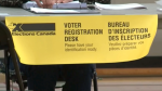 An election booth is featured on Sunday, September 19 (Kraig Krause/CTV News)