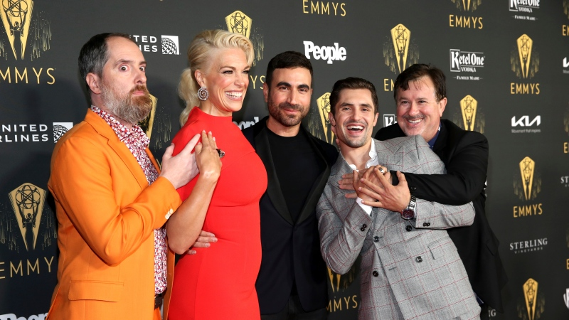 Nominees Brendan Hunt, from left, Hannah Waddingham, Brett Goldstein, Phil Dunster and Jeremy Swift on the red carpet at the 73rd Emmy Awards Performers Nominee Celebration on Friday, September 17, 2021 at the Television Academy's NoHo Arts District campus in Los Angeles, CA. (Photo by Danny Moloshok/Invision for the Television Academy/AP Images)