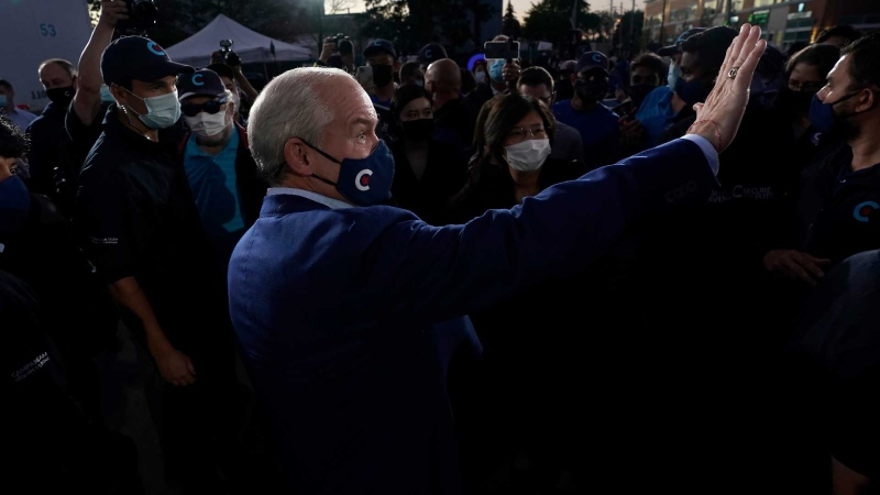 Conservative Leader Erin O'Toole greets supporters during a Party campaign rally in Toronto, Sunday, Sept. 19, 2021. THE CANADIAN PRESS/Adrian Wyld