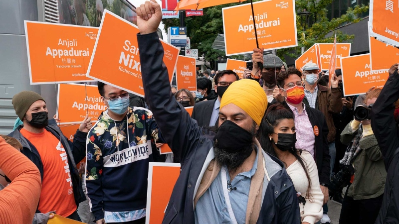 NDP leader Jagmeet Singh greets supporters during a campaign stop in Vancouver, B.C. Sunday, September 19, 2021. THE CANADIAN PRESS/Jonathan Hayward