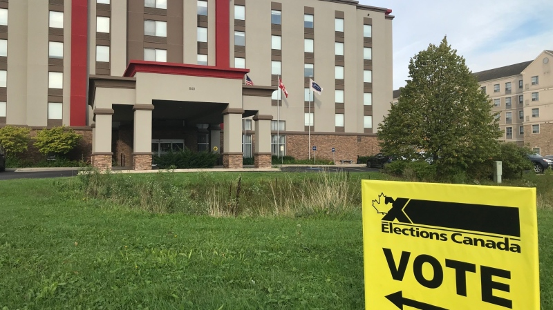 A polling station, located in a hotel, at Bessemer and Exeter Roads in London, Ontario on Monday, Sept 20,2021. Voters in the region are finding polling stations are not in traditional locations, including schools, due to the pandemic. (Sean Irvine / CTV News)
