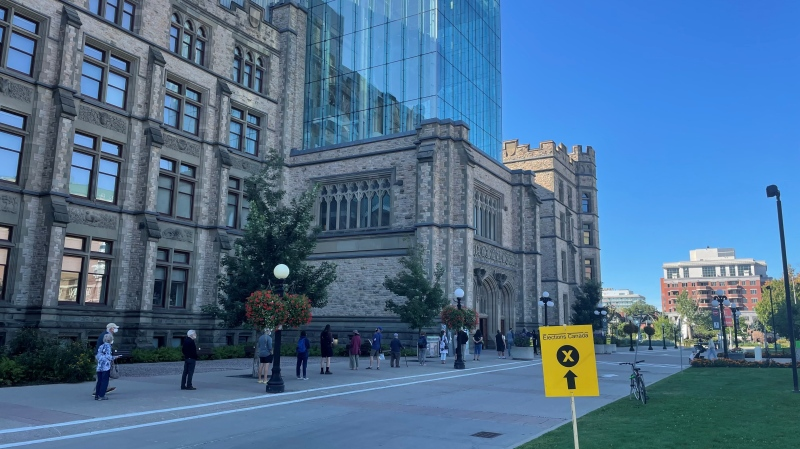 Voters line up to vote at a polling station at the Canadian Museum of Nature on Election Day, Sept. 20, 2021. (Josh Pringle / CTV News Ottawa)