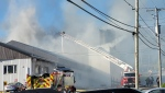 A major fire in Beauceville at a lumber yard may have caused multiple injuries. SOURCE: Sebastien Roy