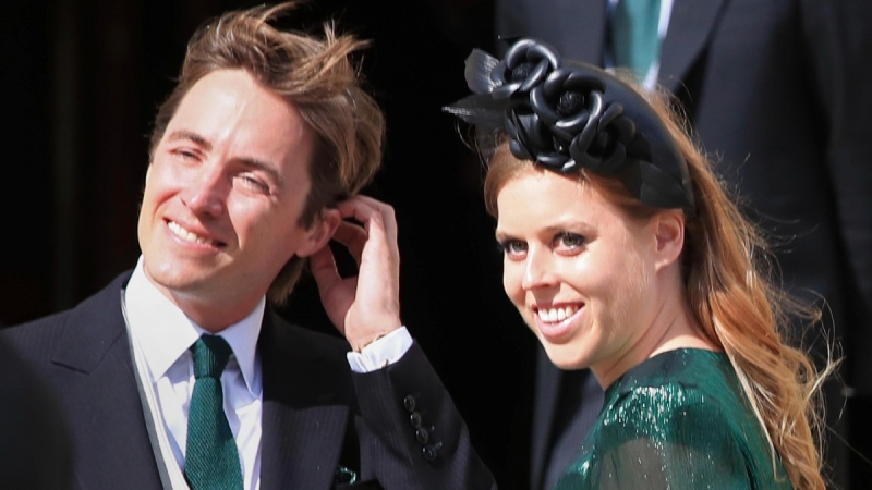 Princess Beatrice and her husband Edoardo Mapelli Mozzi attend the wedding of Ellie Goulding and Caspar Jopling, in York, England, on Aug. 31, 2019. (Peter Byrne / PA via AP, File)