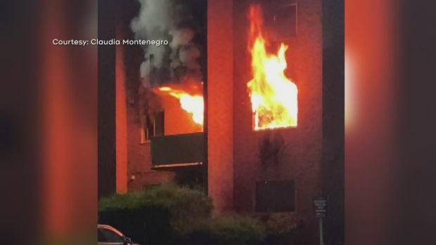 Flames shoot out of an apartment complex on Tenth Street in Collingwood on Mon., Sept., 20, 2021. (Courtesy: Claudia Montenegro)