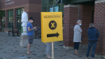 Voters line up at a polling station in Ottawa on Monday, Sept. 20. (Jim O'Grady/CTV News Ottawa)