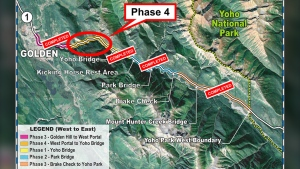 Phase 4 of construction on the Trans-Canada Highway in Kicking Horse Canyon in B.C. will see a detour in place into December. (British Columbia government)