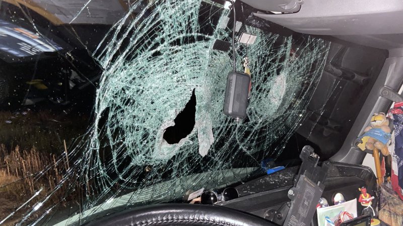 Ontario Provincial Police say two tractor-trailers were struck by rocks after someone threw the objects off an overpass on Hwy. 401 east of Cornwall. (Photo courtesy: Ontario Provincial Police)
