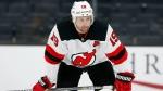 New Jersey Devils' Travis Zajac plays in Boston, on March 7, 2021. (Michael Dwyer / AP)