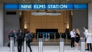 A general view of Nine Elms London Underground station, one of two new tube stations, that has opened on the extension of the Northern line, in London, Monday, Sept. 20, 2021. (David Mirzeoff/PA via AP)