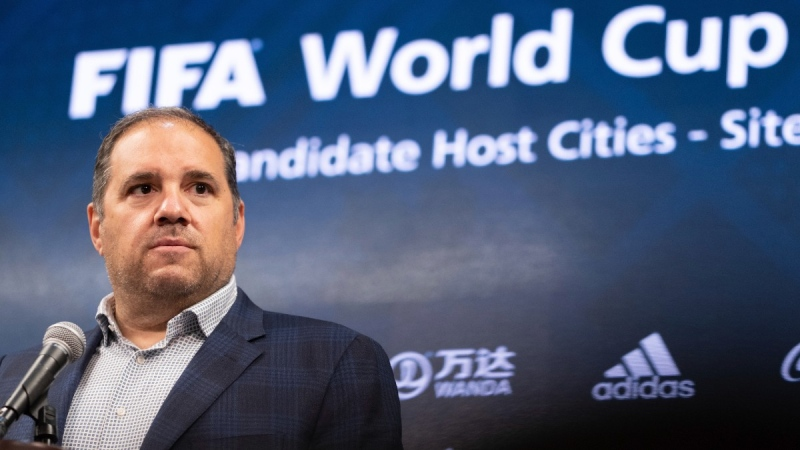Victor Montagliani, FIFA vice-president and CONCACAF president, takes a question during a press conference at Mercedes-Benz Stadium in Atlanta, on Sept. 17, 2021. (Ben Gray / AP)