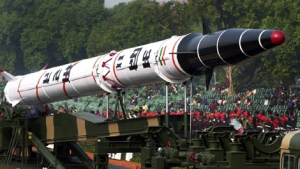 India's Agni II missile is seen in a rehearsal for the Republic Day Parade in Delhi, India, Jan. 23, 2002. (AP / Ajit Kumar)