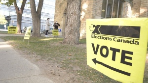 The entrance to the voting location at St. Vincent's Orthodox Church in Saskatoon is pictured Sept. 20, 2021.